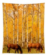 Two Horses In The Autumn Colors Tapestry