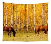 Two Horses In The Colorado Fall Foliage Tapestry