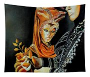 Two Masks In Venice  Tapestry