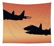 Two Migs At Sunset Tapestry