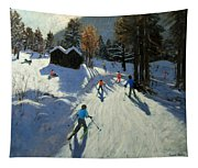 Two Mountain Huts Tapestry