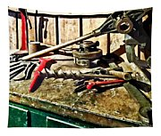 Two Red Wrenches On Plumber's Workbench Tapestry