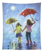 Two Sisters Rain Blond Little Sister Tapestry