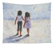 Two Sisters Walking Beach Tapestry