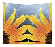 Two Sunflower Lightning Storm Tapestry