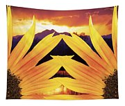 Two Sunflower Sunset Tapestry