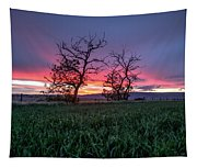 Two Trees In A Purple Sunset Tapestry