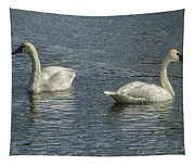 Two Trumpeter Swans At Oxbow Bend Tapestry