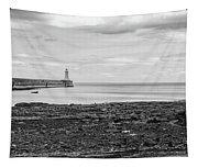 Tynemouth Pier Landscape In Monochrome Tapestry