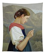 Tyrolean Girl Contemplating A Crucifix Tapestry