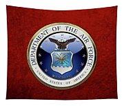 U. S.  Air Force  -  U S A F Emblem Over Red Velvet Tapestry
