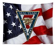 U. S. Navy S E A Ls - S E A L Team Seven  -  S T 7  Patch Over U. S. Flag Tapestry