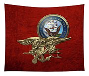 U. S. Navy S E A Ls Trident Over Red Velvet Tapestry