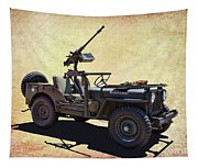 U. S.rmy Jeep With Assualt Weapons Tapestry