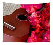 Ukulele And Red Flower Lei Tapestry