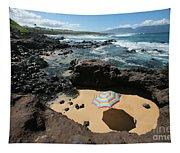 Umbrella On Beach Tapestry