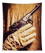Undead Mummy  Holding Handgun Against Wooden Wall Tapestry