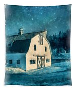 Under The Vermont Moonlight Watercolor Tapestry