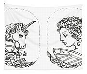 Unicorn And Fairy Cameo Set Tapestry