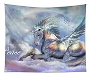Unicorn Of Peace Card Tapestry