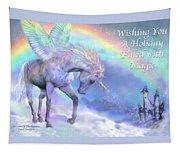 Unicorn Of The Rainbow Card Tapestry