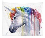 Unicorn Rainbow Watercolor Tapestry