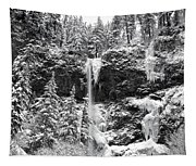 Upper Falls In Snow's Cover Tapestry