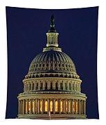 U.s. Capitol At Night Tapestry