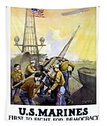 Us Marines -- First To Fight For Democracy Tapestry