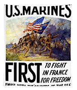 Us Marines - First To Fight In France Tapestry