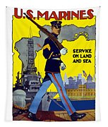 U.s. Marines - Service On Land And Sea Tapestry