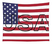 Usa On The American Flag Tapestry