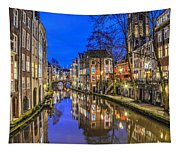 Utrecht From The Bridge By Night Tapestry