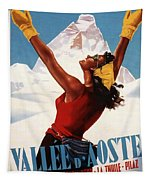 Vallee D'aoste - Aosta Valley, Italy - Retro Travel Poster - Vintage Poster Tapestry