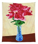 Vase Of Red Roses Tapestry