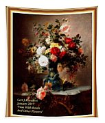 Vase With Roses And Other Flowers L A With Alt. Decorative Ornate Printed Frame. Tapestry
