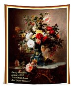 Vase With Roses And Other Flowers L A With Decorative Ornate Printed Frame. Tapestry