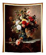 Vase With Roses And Other Flowers L B With Alt. Decorative Ornate Printed Frame. Tapestry