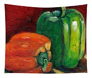 Vegetable Still Life Green And Orange Pepper Grace Venditti Montreal Art Tapestry