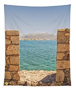 Veiw Of Lerapetra From Kales Fort Portrait Composition Tapestry