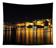 Velvety Reflections - Valletta Grand Harbour At Night Tapestry