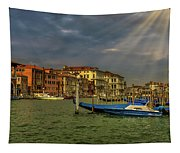 Venice Grand Canal God Sun Rays Tapestry
