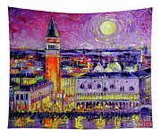 Venice Night View Modern Textural Impressionist Stylized Cityscape Tapestry