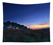 Venus And Moon Over Spring Poppies Tapestry