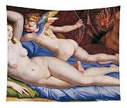 Venus, Cupid And A Satyr Tapestry