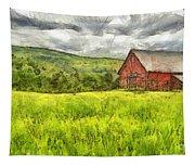 Vermont Farm Landscape Pencil Tapestry