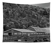 Vermont Farm With Cows Autumn Fall Black And White Tapestry
