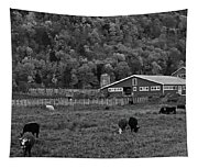 Vermont Farm With Cows Black And White Tapestry