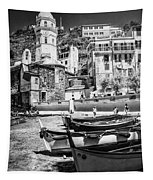 Vernazza Boats And Church Cinque Terre Italy Bw Tapestry
