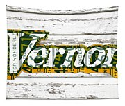 Vernors Beverage Company Recycled Michigan License Plate Art On Old White Barn Wood Tapestry